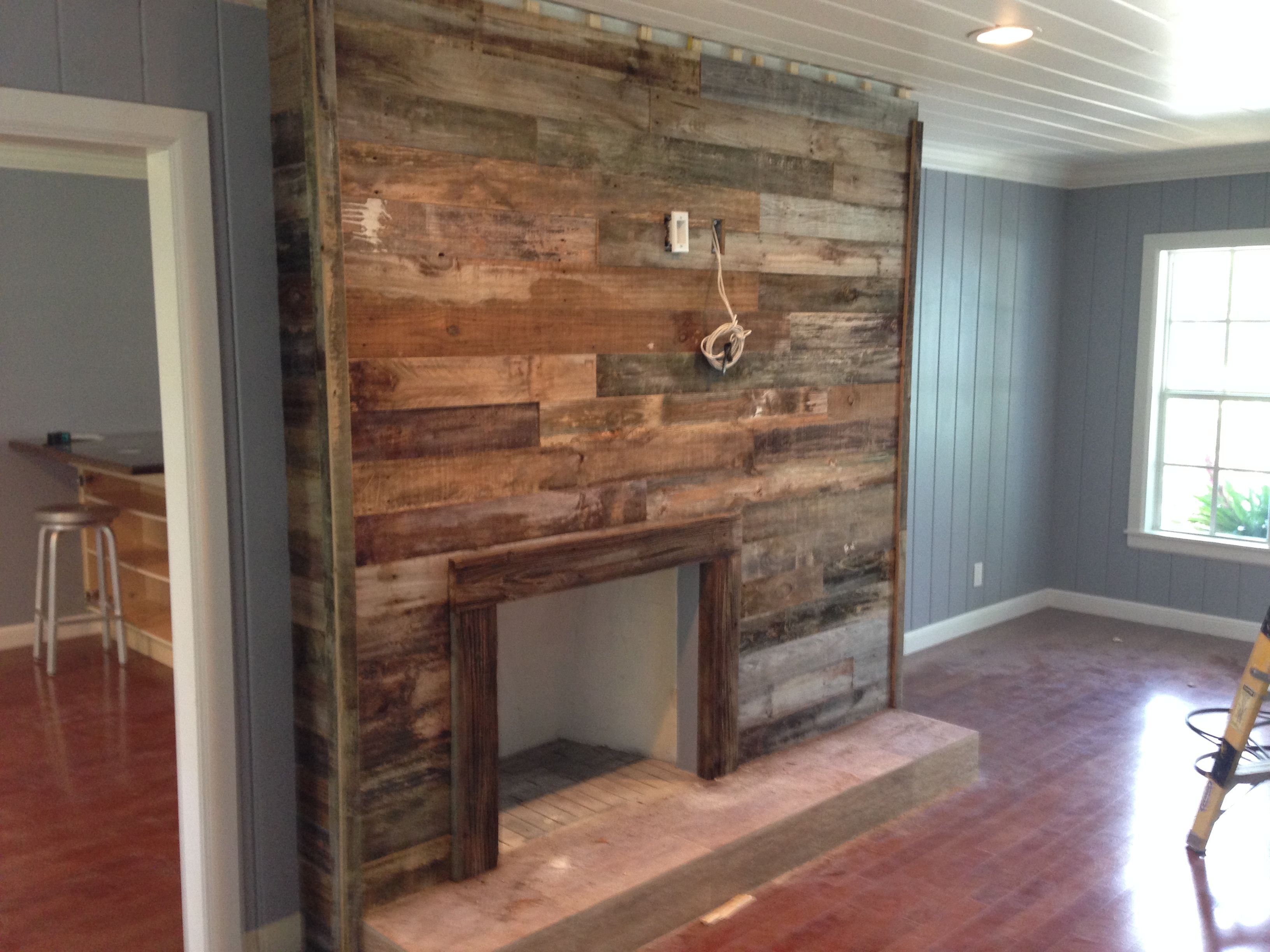 Reclaimed wood fireplace surround odds ends for Wood fireplace surround designs