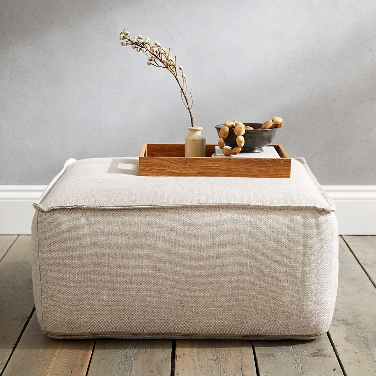 Square Linen Union Pouffe Furniture Sale The White Company Pouffe The White Company Furniture Sale