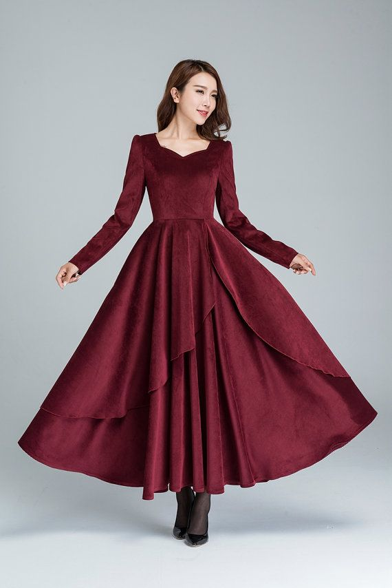 Cocktail dress, wine red dress, corduroy dress, romantic dress, long dress, party dress, wedding dress, layered dress, fall dress 1612# #cocktails