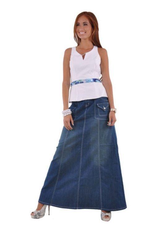лук с длинной джинсовой юбкой