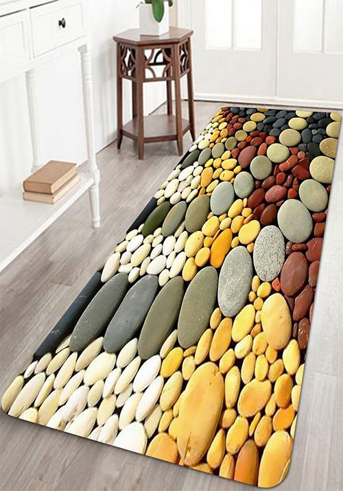 Colorful Cobblestones Pavement Print Floor Area Rug Floor Area