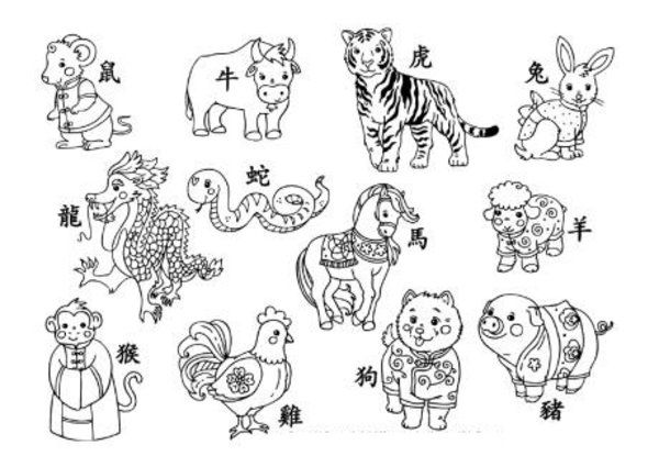 Chinese New Year Coloring Pages Picture Happy | embroidary ...