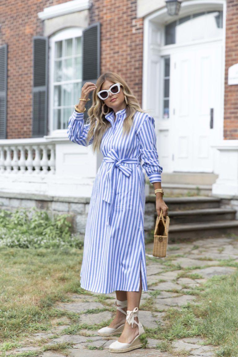 Striped Shirt Dress Krystin Lee In 2021 Striped Shirt Dress Shirt Dress Modesty Fashion [ 1152 x 768 Pixel ]