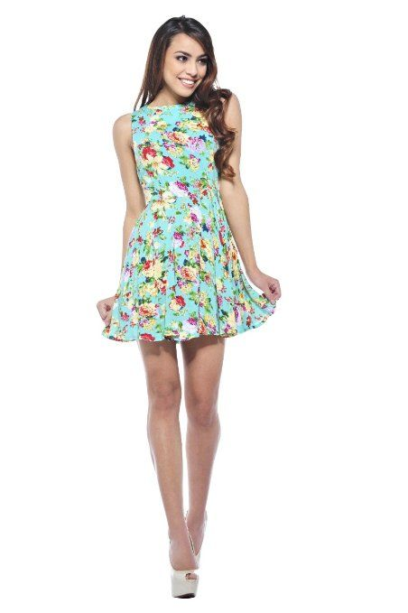 2ccabe73c845 Amazon.com  AX Paris Women s Floral Summer Skater Dress  Clothing ...