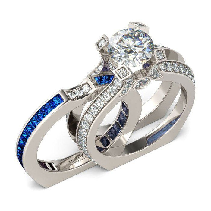 Two-in-one Round Cut 1.9CT Created White Sapphire Rhodium Plated 925 Sterling Silver Women's Engagement Ring/Wedding Ring Set/Bridal Set