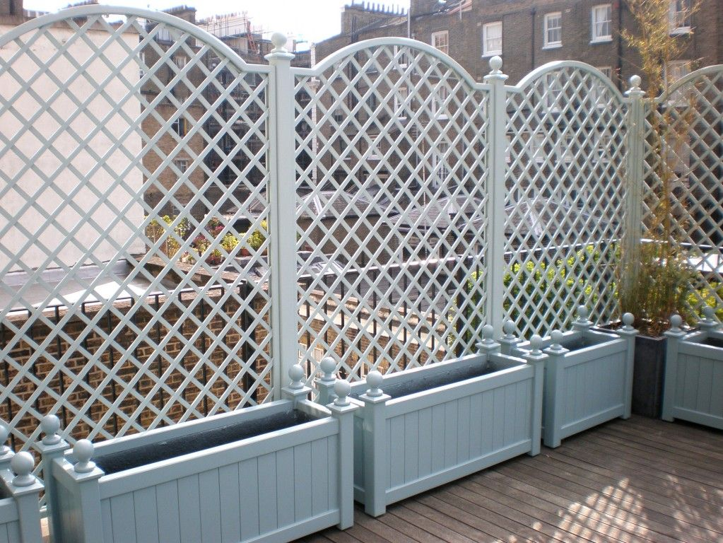 Painted planters trellis garden pinterest garden for Outdoor lattice