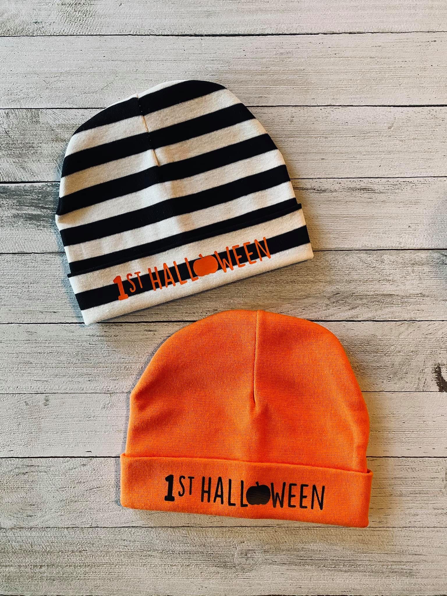 1st Halloween Baby Hat - Black and White Stripe / Silver Glitter / 1st Halloween with Pumpkin