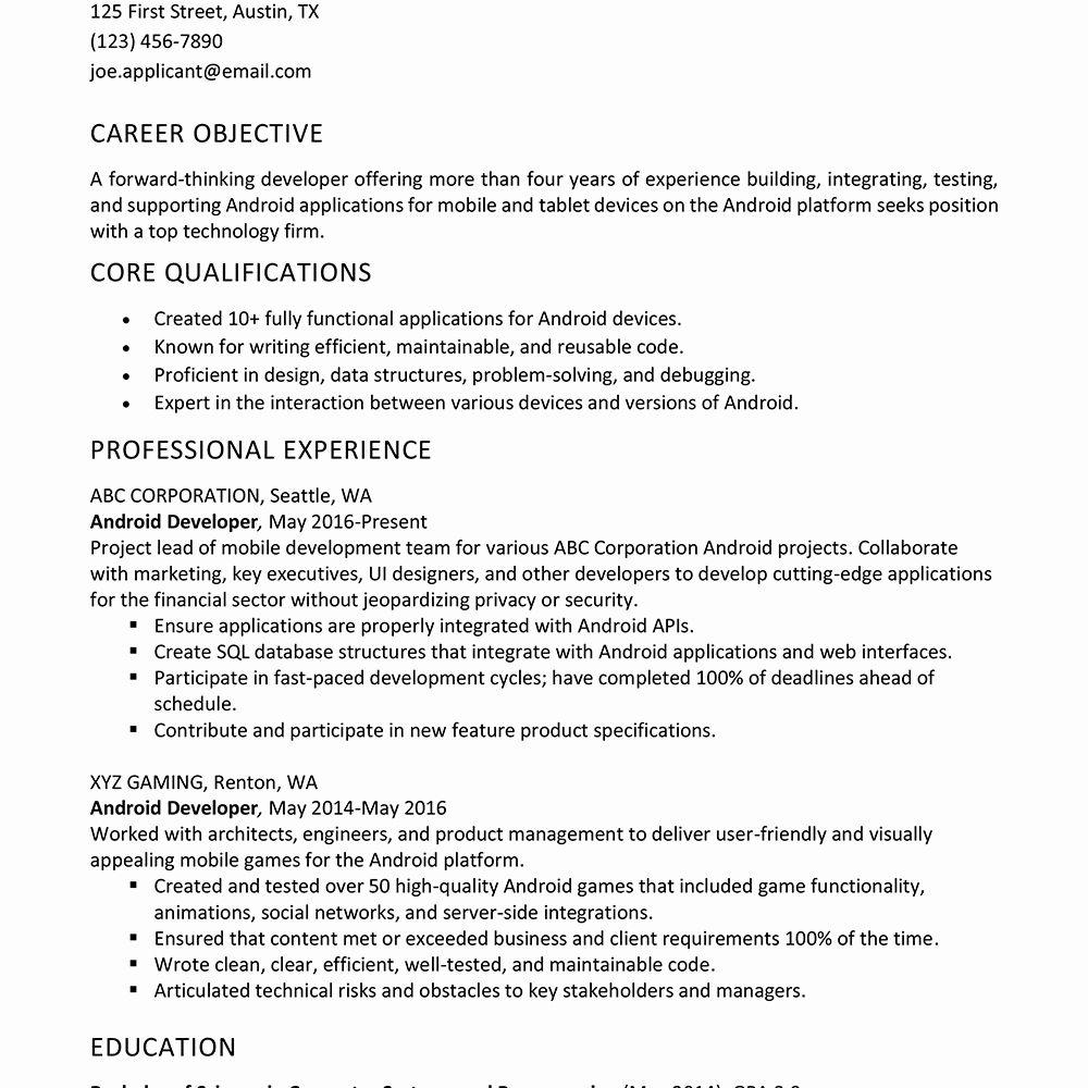 Entry Level Sql Developer Resume Inspirational android