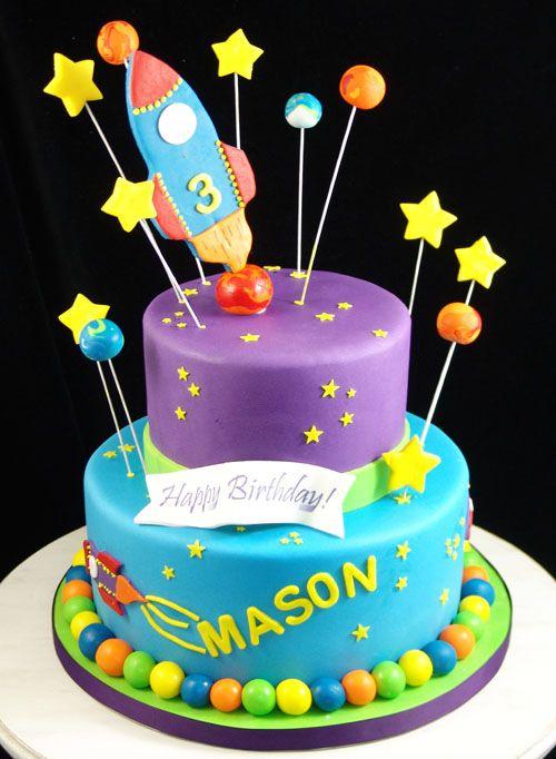 Rocket Ship Space Birthday Cake Fairy Birthday Cake Birthday Cake Decorating Boy Birthday Cake