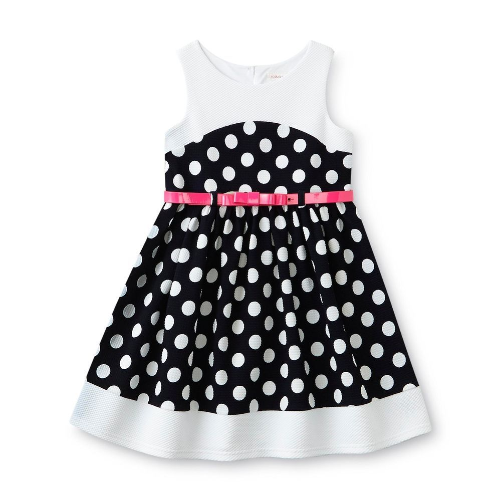 Youngland girls dress sundress belt polka dot sleeveless kids size
