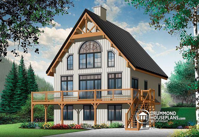 W3938-V1 - 5 bedroom Rustic chalet A-Frame house plan, open living - plan de maison avec patio