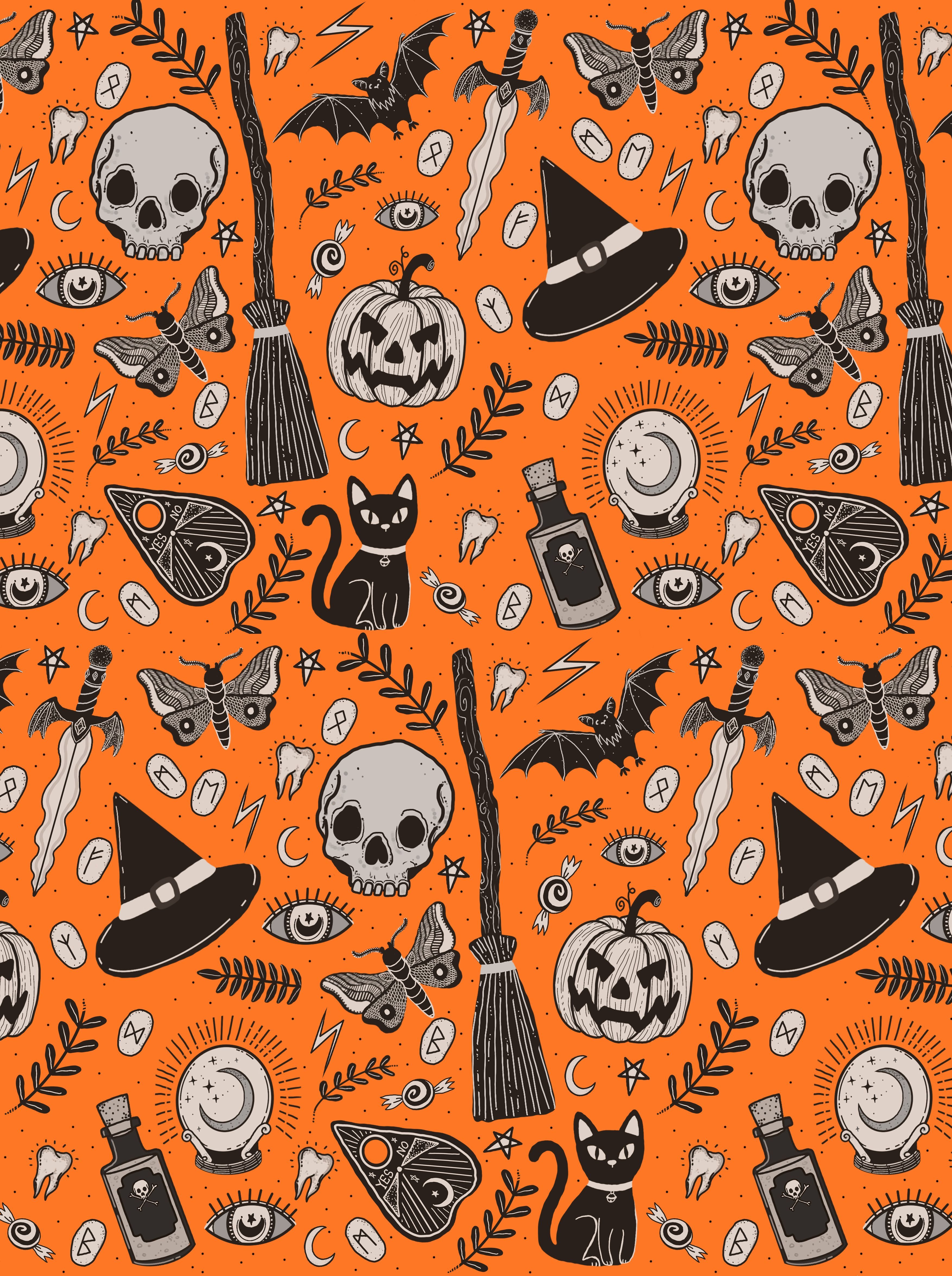 Halloween Pattern By Lily Jane Illustration Lilyjaneuk Halloween Patterns Halloween Prints Halloween Illustration