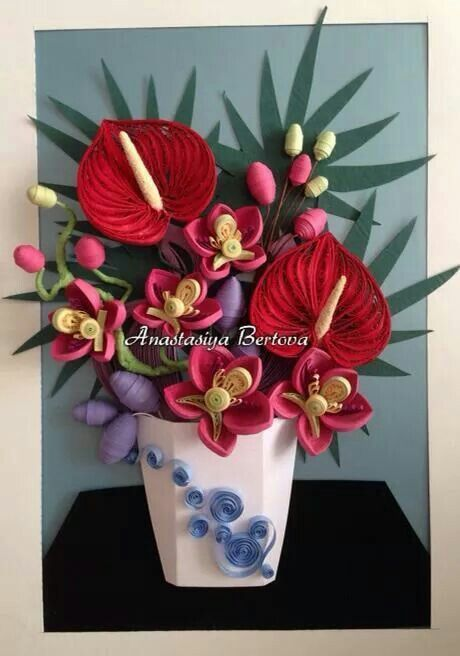 Quilled Flower Arrangement In Vase With Anthuriums Quilling