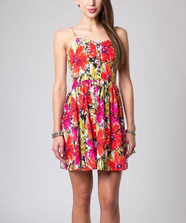 Look at this #zulilyfind! Red & Coral Floral Hudson Fit & Flare Dress #zulilyfinds