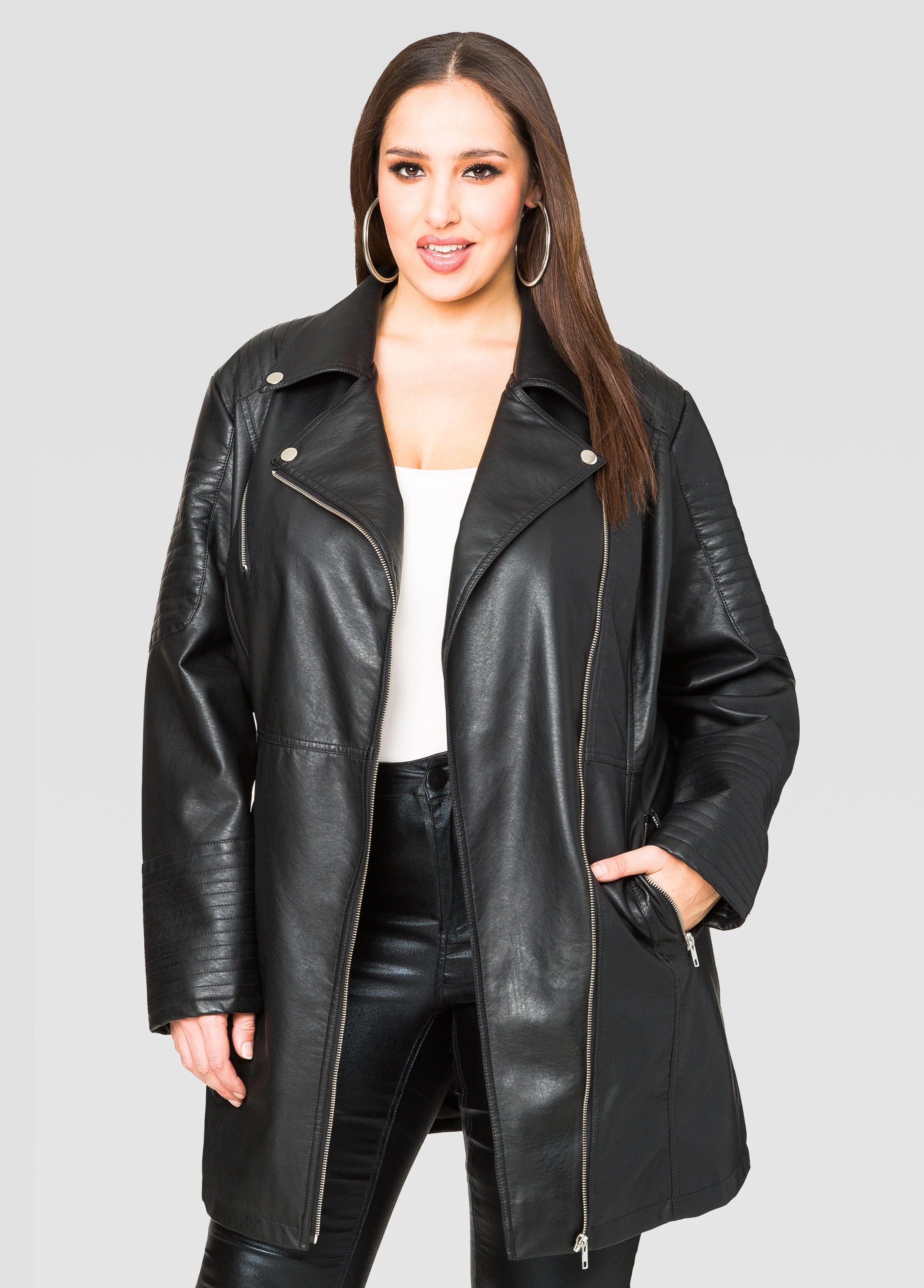 Long Faux Leather Moto Jacket Ashley Stewart