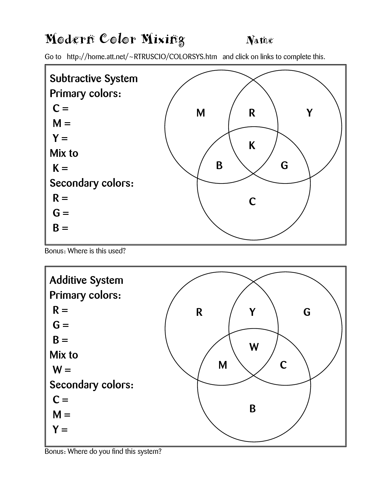 worksheet Primary And Secondary Colours Worksheet color theory lessons computer worksheet high school art worksheet