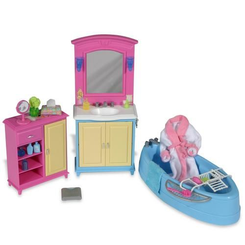 Barbie Decor Collection Bathroom Playset Tub Sink Storage