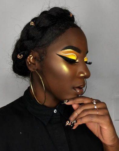 melanin monday  yellow eyeshadow dark skin makeup