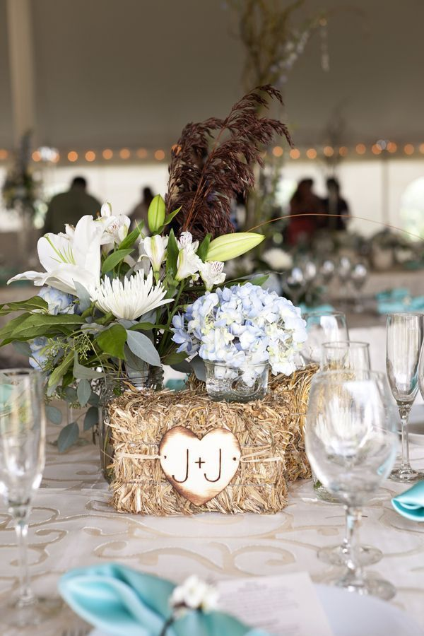 Country Hay Bale with Flowers Wedding Centerpieces