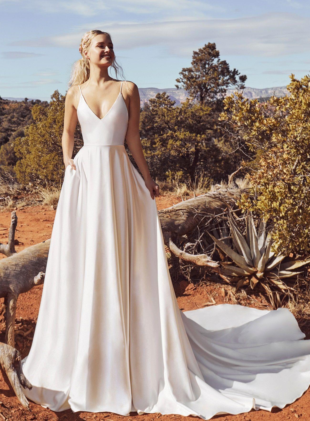 10 Simple Satin Wedding Dresses For A Sophisticated Celebration Wedding Dress Organza Beach Wedding Dress Boho Wedding Dresses Satin [ 1024 x 768 Pixel ]