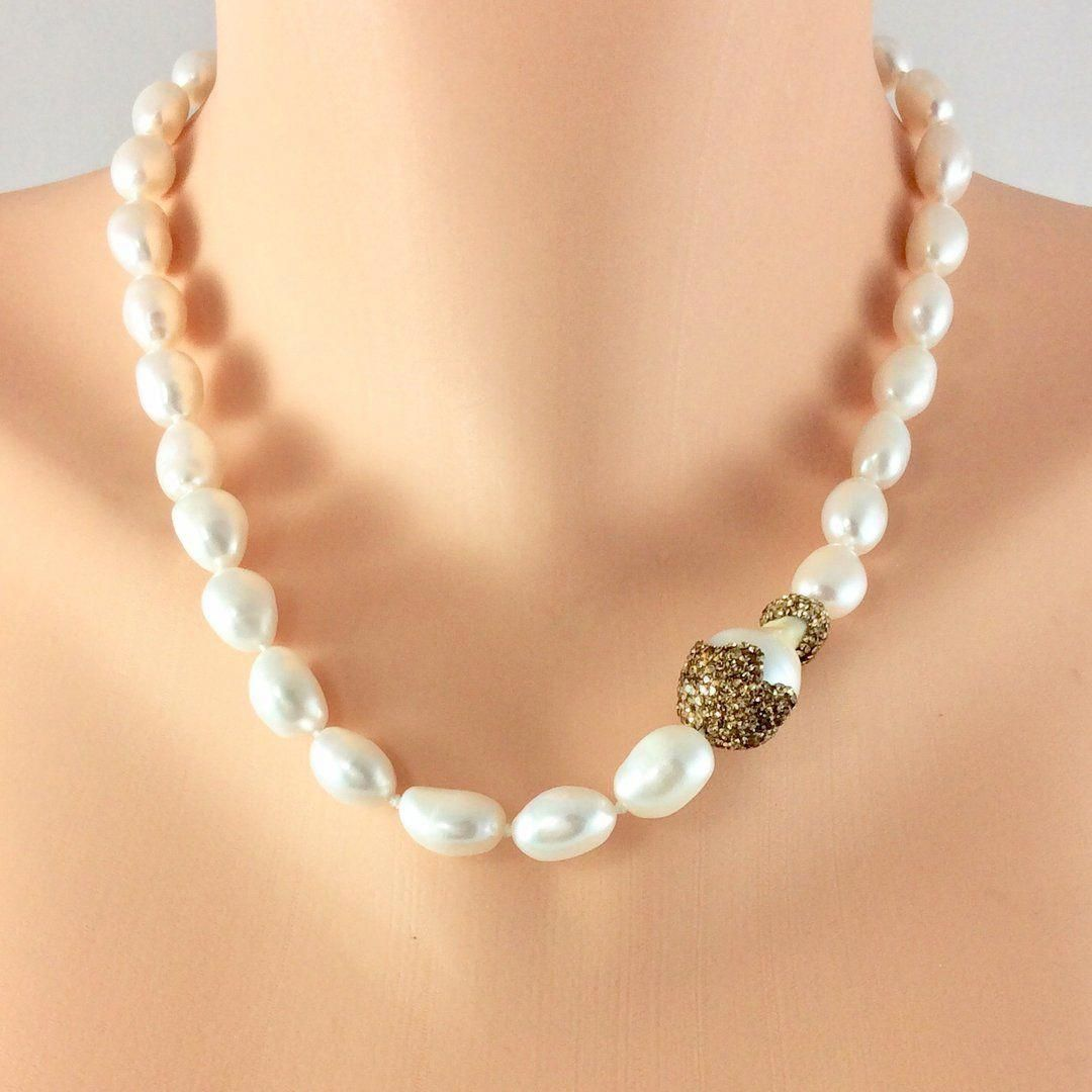 Handmade Necklace Pearl Necklace Mother Days Statement Necklace Women Gifts White Necklace Choker Necklace Multi-strand necklace
