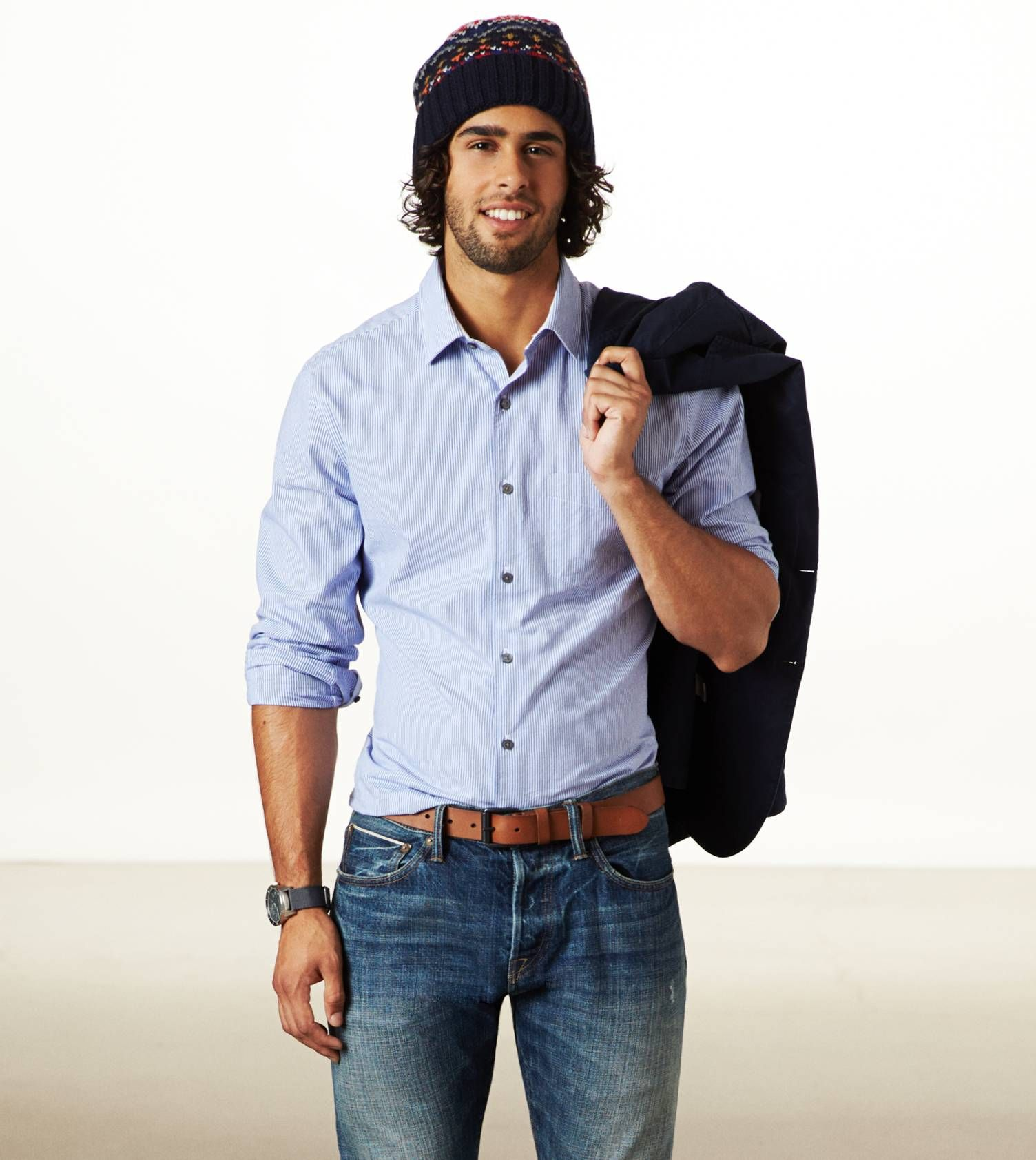 AE Crisp Button Down Shirt with a sweater and cap. Great for ...