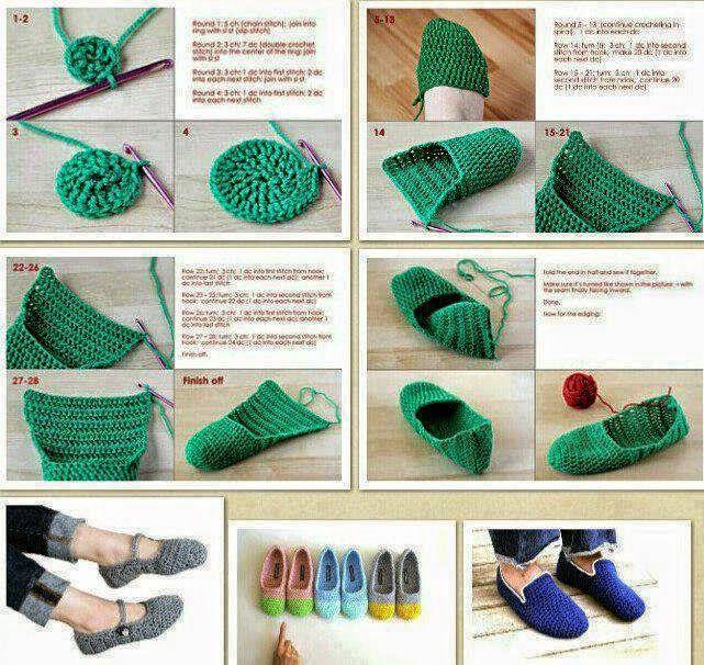 Crochet y Dos agujas: 4 Tutoriales para tejer calzado al crochet ...