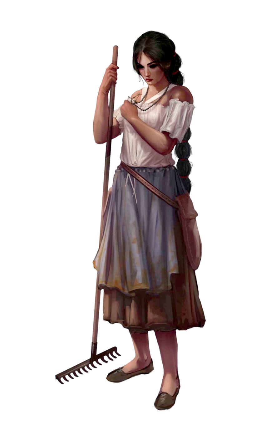 Female Human Commoner - Pathfinder 2E PFRPG DND D&D 3.5 5E 5th ed ...