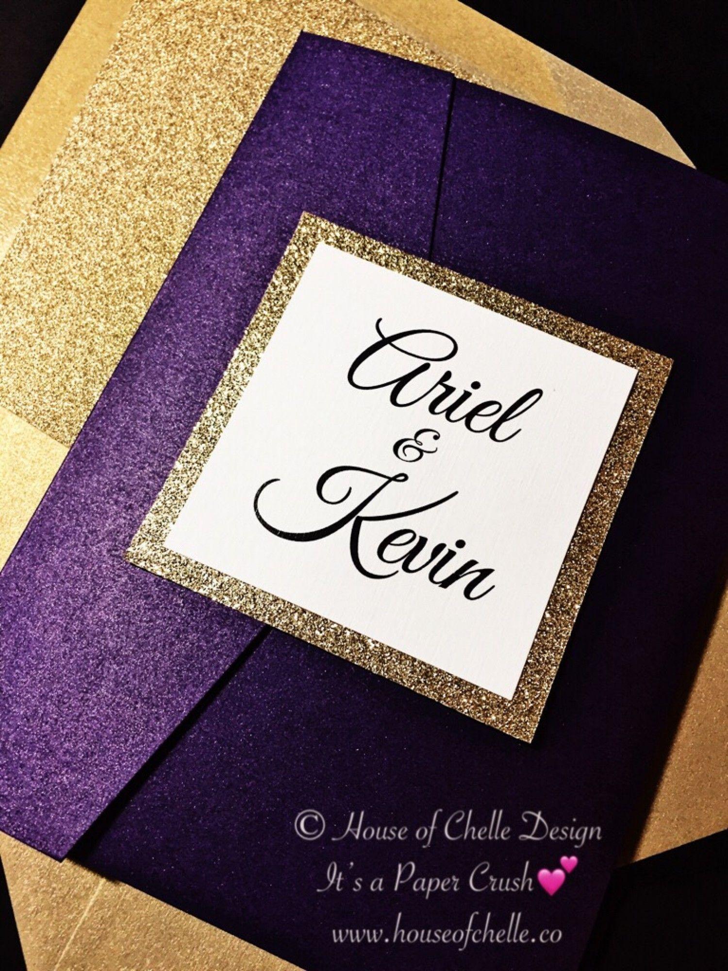 Amethyst Wedding Invitation Amethyst And Gold Glitter Pocket