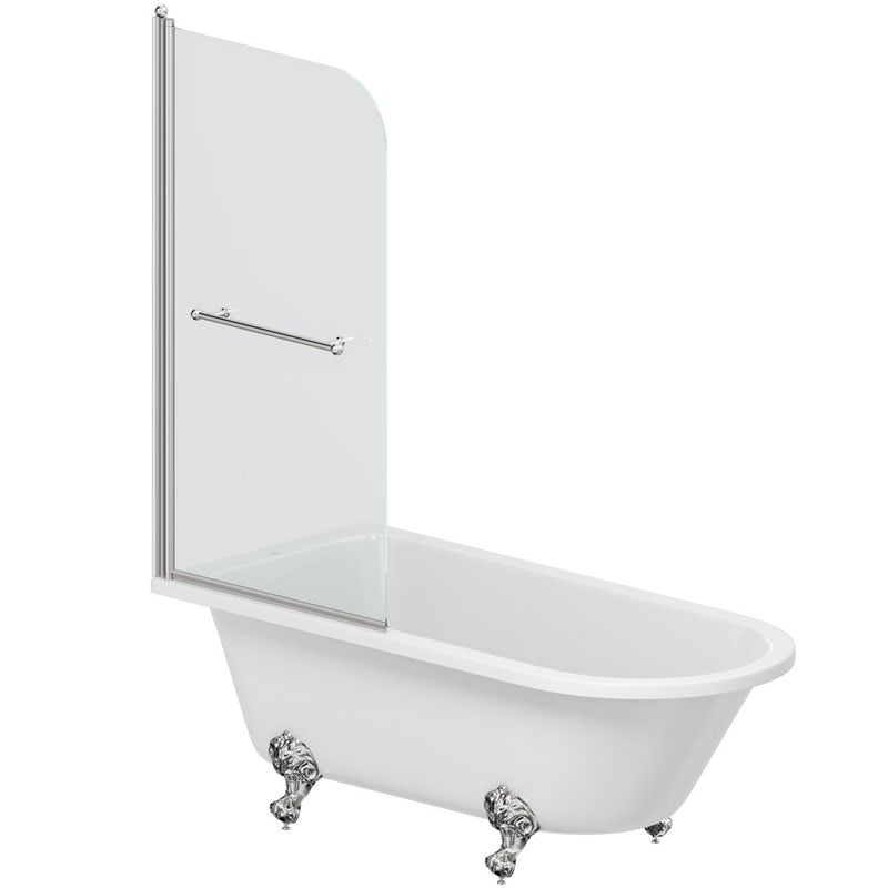 Orchard L shaped left handed shower bath with 6mm matt