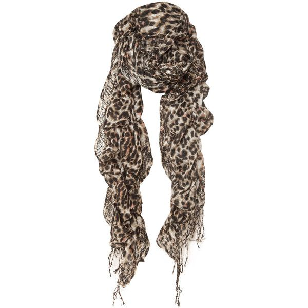 Miso Twirl Leopard Scarf ($22) ❤ liked on Polyvore featuring accessories, scarves, pañuelos, bright shawl, wrap shawl, brown shawl, brown scarves and print scarves