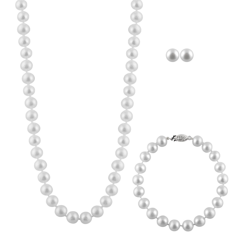 Sterling Silver Pearl 3-piece Set, Women's