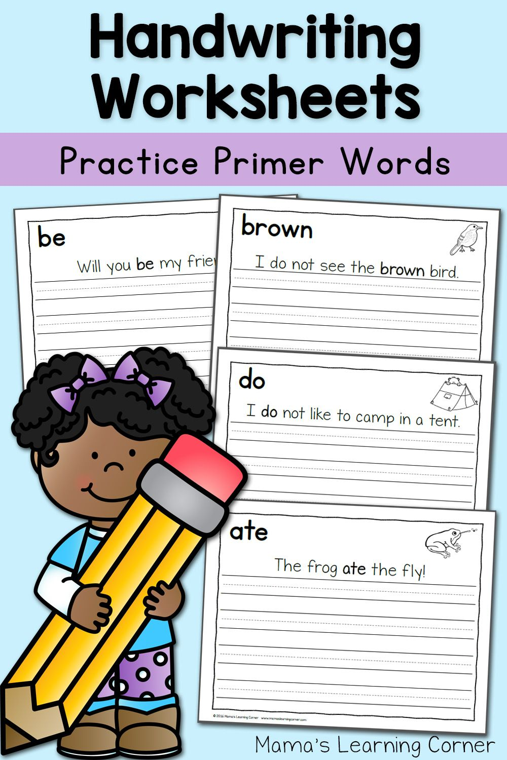 Handwriting Worksheets for Kids: Dolch Primer Words   Handwriting ...