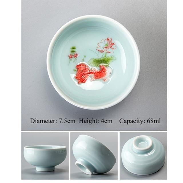 Photo of Porcelain Celadon Fish Ceramic China Kung Fu Tea Set – Blue 3