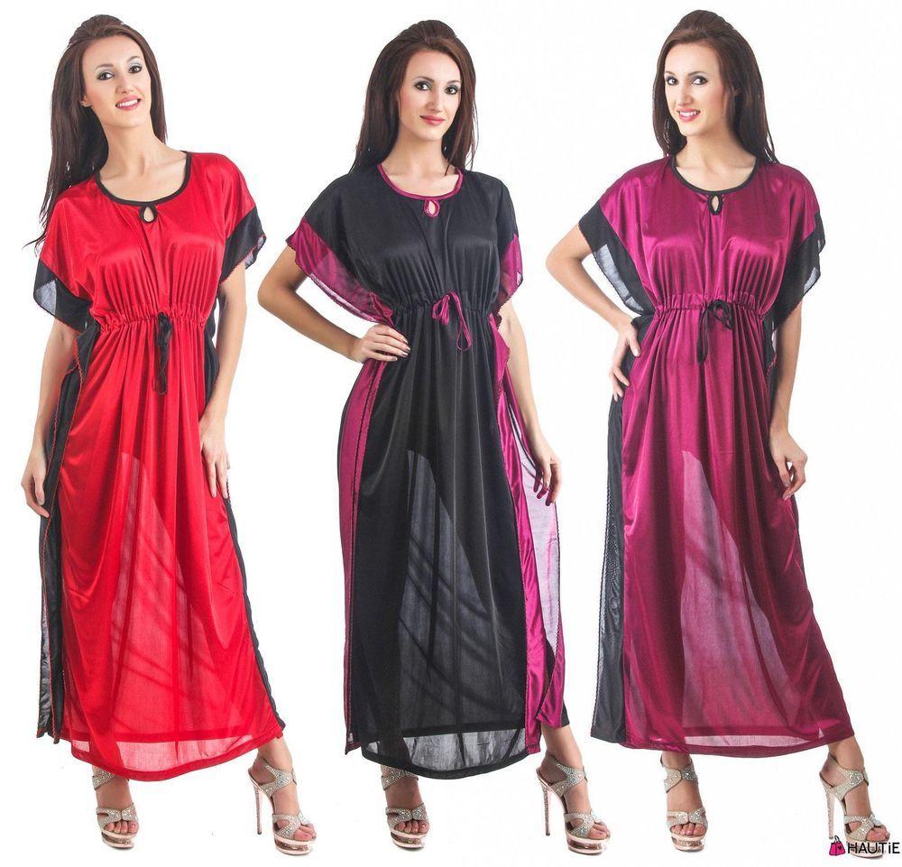 NEW WOMENS SATIN NIGHTWEAR LADIES DRESS SLEEPWEAR NIGHT GOWN KAFTAN in  Clothes e71bb99d0