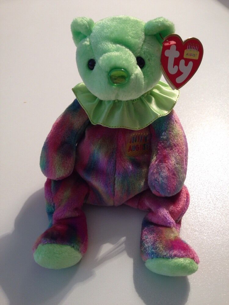 August Birthday bear TY BEANIE BABY RETIRED NEW 8 INCHES