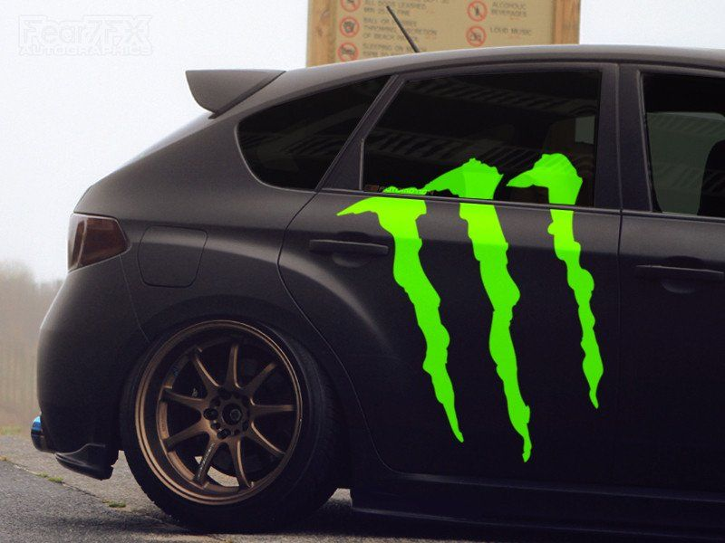 1x monster energy car claw vinyl transfer decal fear7fx
