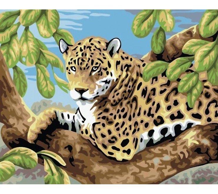 """Раскраска по номерам Белоснежка """"Леопард в лесу ..."""