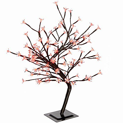 Werchristmas 2 Ft Pre Lit 96 Led Illuminated Cherry Blossom Tree With Brown Trunk And Branches Cherry Blossom Tree Christmas Decorations Christmas Tree Glitter