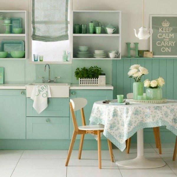 Resultado de imagen de cocina pared marron muebles verdes ...