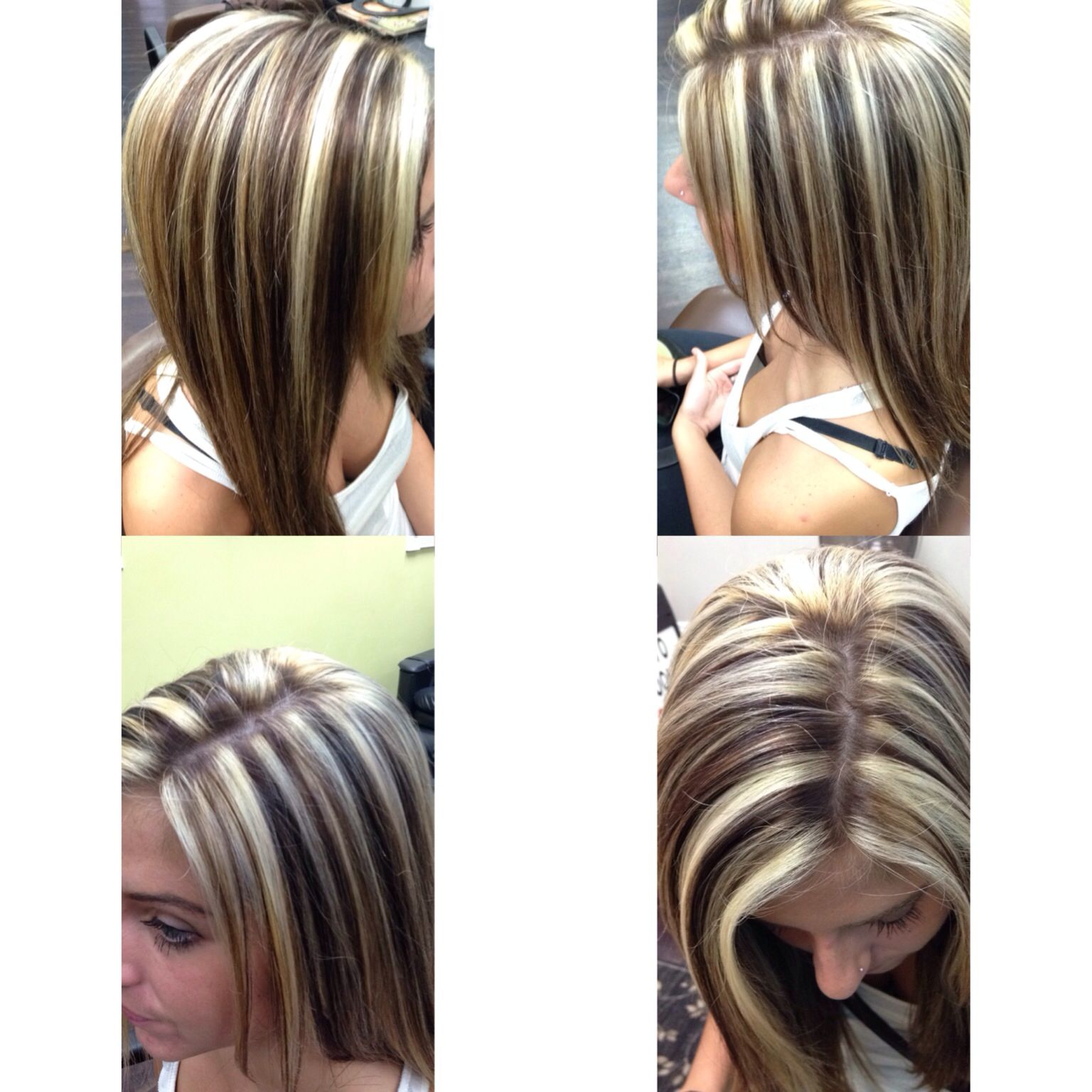 Chocolate brown lowlights with white blonde highlights ...