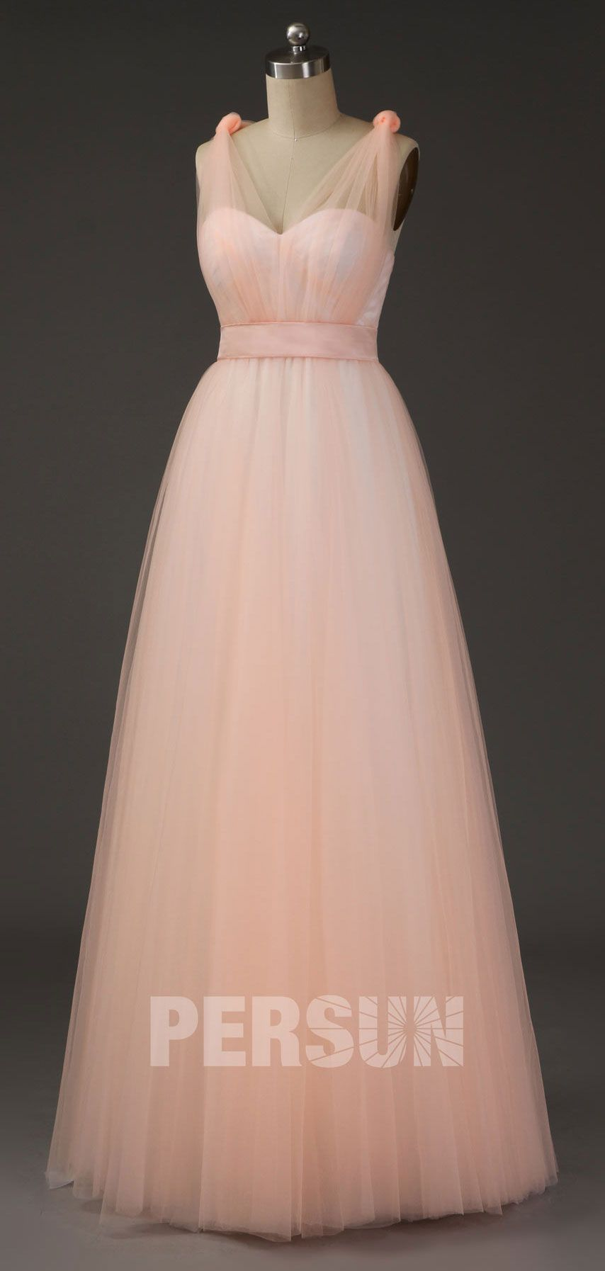 Robe Ceremonie Mariage Peche Clair Princesse En Tulle Avec Bretelle Convertible Robe Ceremonie Idees Vestimentaires Mariage Peche