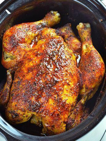 Slow Cooker Rotisserie Chicken recipe is easy and healthy way to make homemade rotisserie style chicken! Delicious homemade rotisserie chicken can be served as the main course or shredded and used for another recipe. Cooking whole chicken in a crockpot is perfect for the MEAL PREP