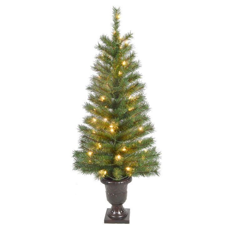 4 Ft Pre Lit Porch Trees With 50 Clear Lights Set Of 2 Porch Trees Christmas Tree Collection Outdoor Christmas
