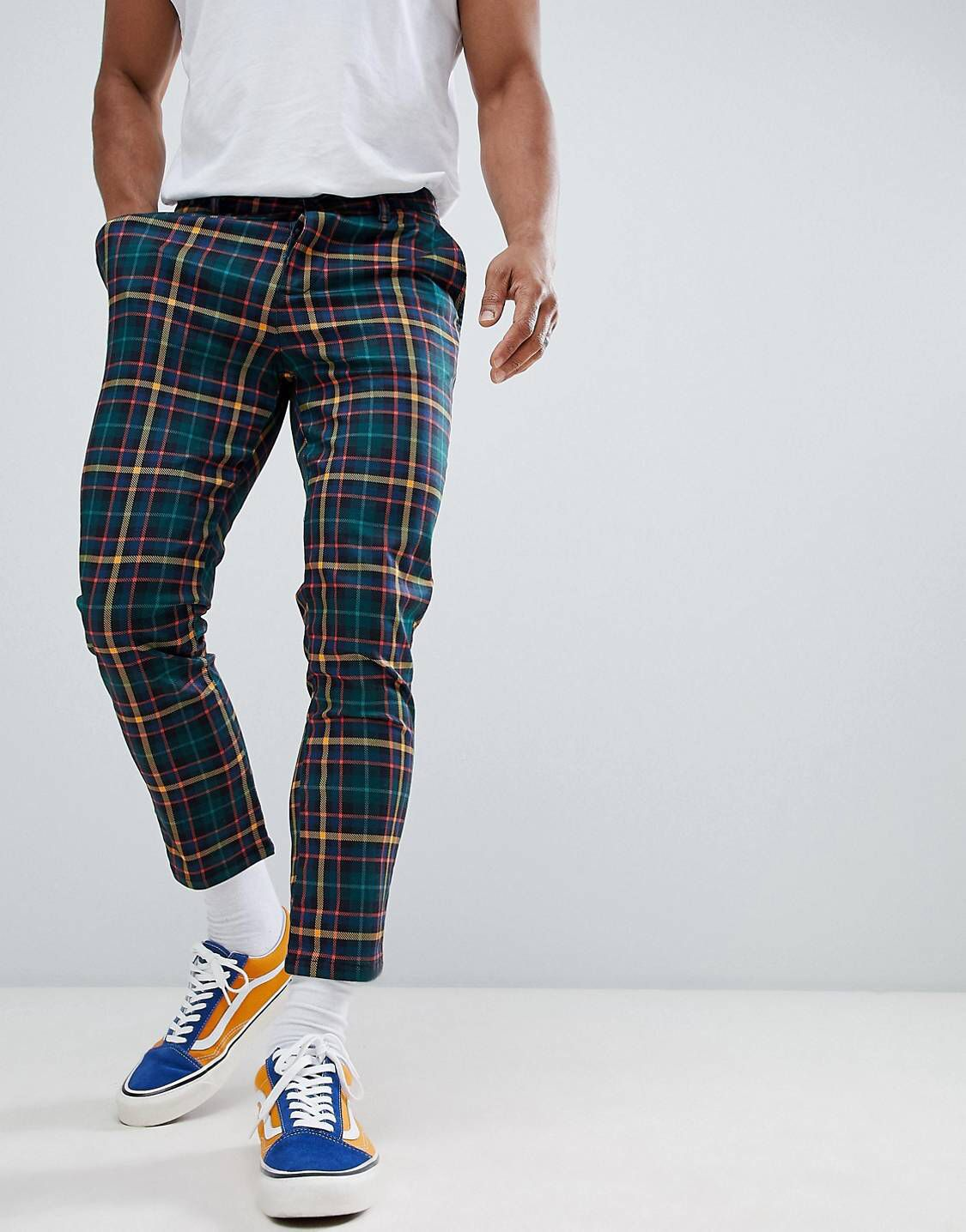 Design Skinny Cropped Pants In Plaid Check Kikokikote Mens Chino