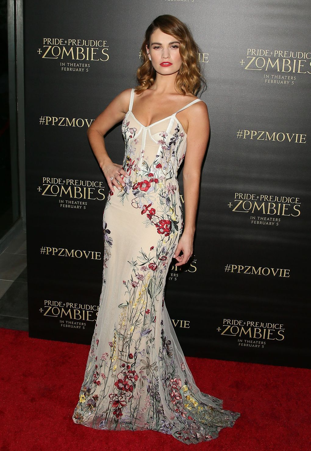 41ec0a571aeb She wore an Alexander Mcqueen gown to the  i Pride and Prejudice and  Zombies  i  premiere.