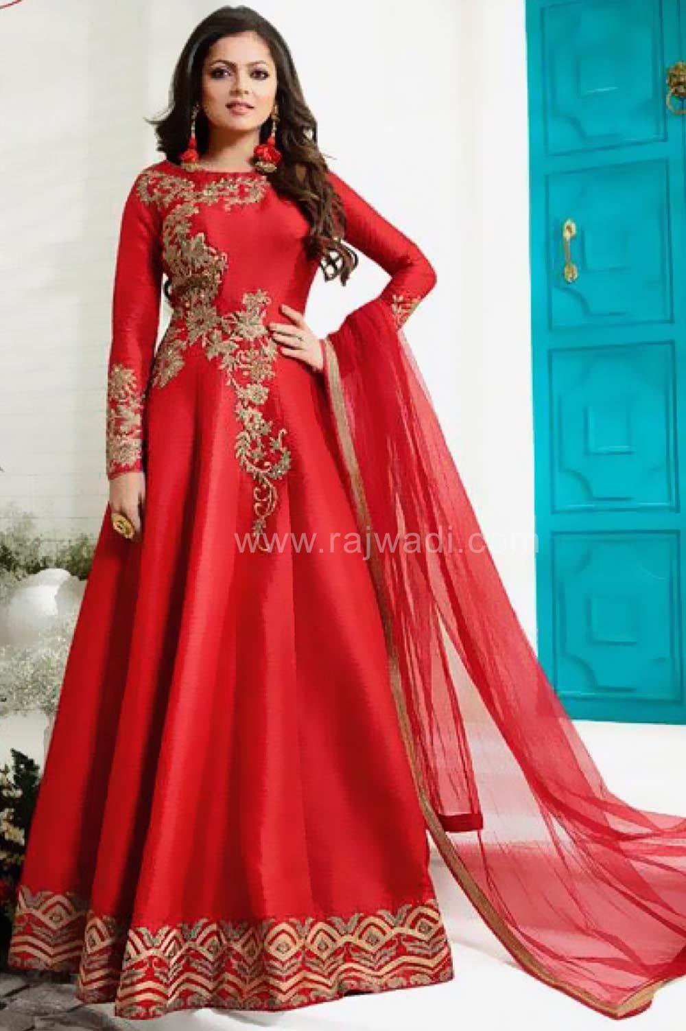 7062c0f6ab Floor Length Red Drashti Dhami Dress Material... #DrastiDhami #rajwadi  #designer #ethnic #eidsalwarkameezmaterial #eidspecialdresses  #WomensSuitsforEid # ...
