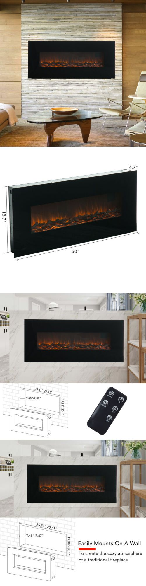 Air Conditioners And Heaters 185107 50 1500w Wall Mount Electric Fireplace Heater 3 Electric Fireplace Heater Wall Mount Electric Fireplace Electric Fireplace
