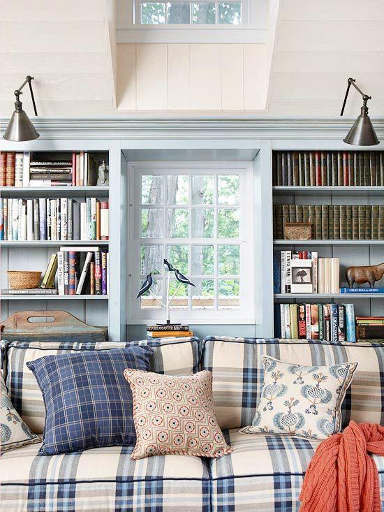 Dla Moli Ksiazkowych Plaid Living Room Blue Living Room Living Room White