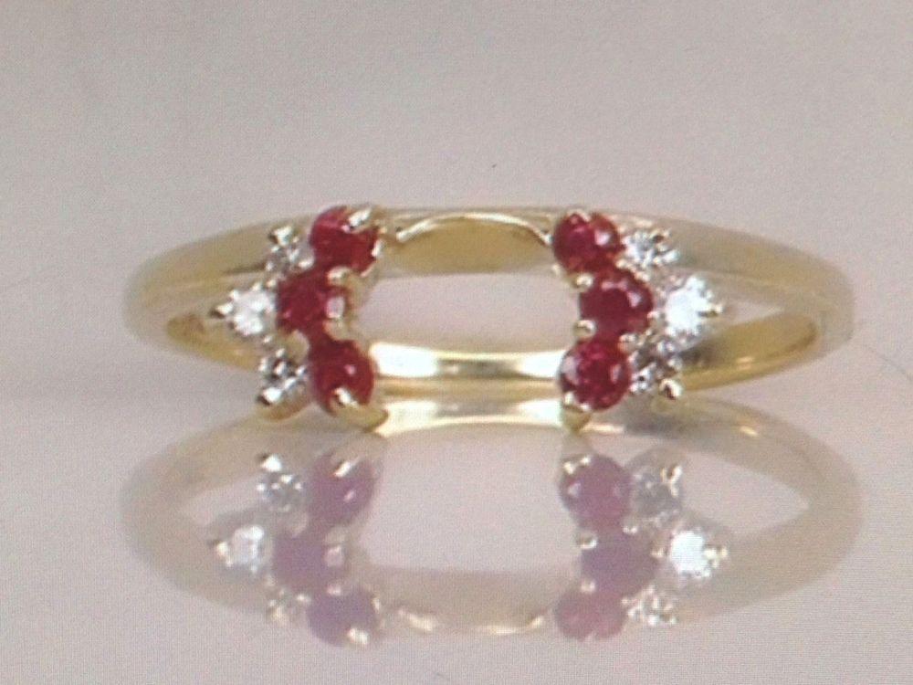 Diamond & Ruby Wrap 14k Yellow Gold Ring Guard enhancer